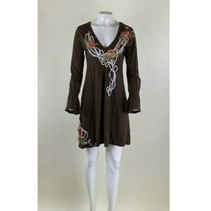 Johnny Was JWLA Sz M Embroidered Tunic Dress Brown